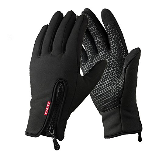YYGIFT Touch Screen Gloves Outdoor Sports Winter Gloves Wind-Stopper Warm Gloves for Men Women - Black L
