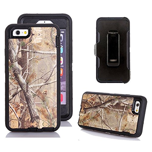 iPhone 6s Holster Case, Kecko® Defender Tough Rubber Tree Camo Shockproof Impact Resistant Military Grade Heavy Duty Hybrid Rugged Full Body Built-in Screen Protector Case with Belt Clip for iPhone 6s