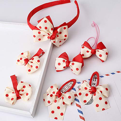 Autumn Water Hairband Set Lovely Bow Hair Accessories Hairpins Dot Stripe Headband Gum Gifts -