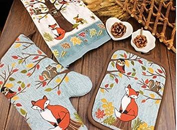 Patrón de dibujos animados lindo guantes de horno de cocina guantes + cojines del aislamiento de la barbacoa KTST06: Amazon.es: Hogar