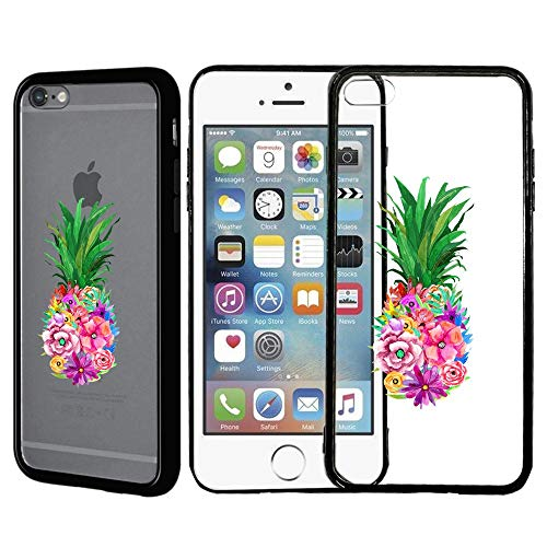 [Inkmodo] Clear TPU Case for iPhone 5 / 5S / SE - Flower Pineapple Printed Unique Design Pattern Cover ()