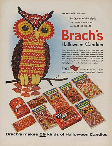 The Wide Old Owl says Brach's Halloween Candies ad 1960 -