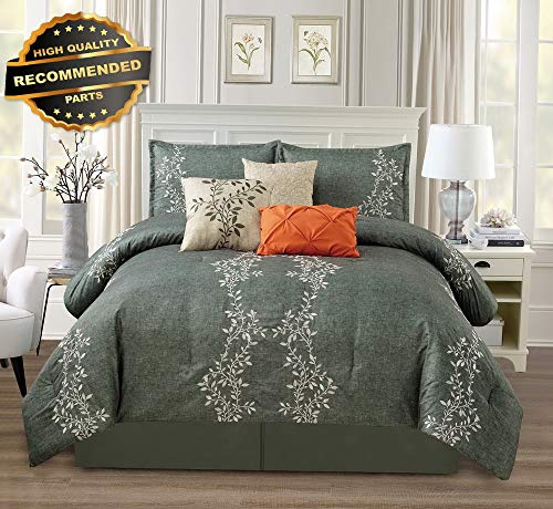 Gatton Premium New 7pc Charcoal Gray Ve Leaf Embroidery Comforter Set, Queen | Style Collection Comforter-311012449