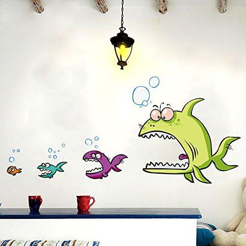 Pared Engomadas Impermeable Peces Grandes Comen Peces Pequeños Pared De Dibujos Animados 5