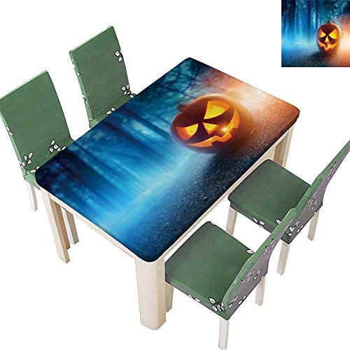 Table in Washable Polyeste A Glowing Jack O Lantern in a Dark Mist Forest on Halloween. Wedding Party Restaurant 54 x 72 Inch (Elastic -