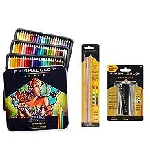 Prismacolor Premier Colored Pencils, Soft Core, 72 Pack, With Prismacolor Blender Pencil Colorless (2 Piece) & Premier Pencil Sharpener