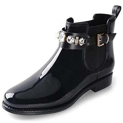 1bc6536991679 Alexis Leroy Womens Round Toe Diamond Buckle Style Waterproof Elastic  Rubber Ankle Rain Boots Black 36