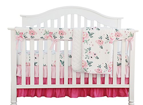 Pink Floral Ruffle Baby Minky Blanket Water color, Pink Floral Nursery Crib Skirt Set Baby Girl Crib Bedding (4 pieces set)