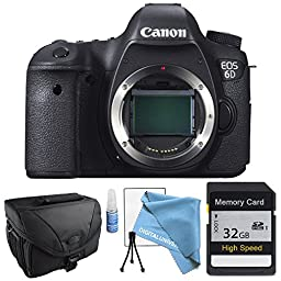 Canon EOS 6D Body Only with Camera Case & 32GB SDHC SD Class 10 Memory Card High Speed, Starter package with Lens Cleaning kit, LCD Screen protector and Table Top Tripod