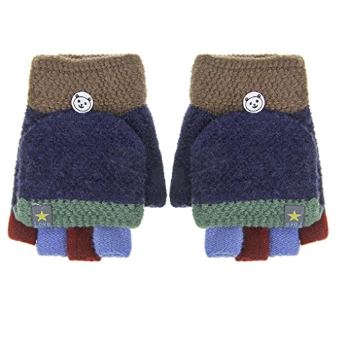 Convertible Flip Top Gloves,Winter Warm Knitted Fingerless Gloves with Mitten Cover for Toddler Kids Girls Boys 5-10 Yrs