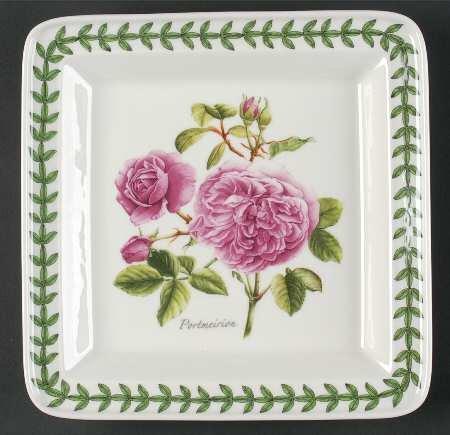 Portmeirion Botanic Roses Square Salad Plate, Fine China Dinnerware