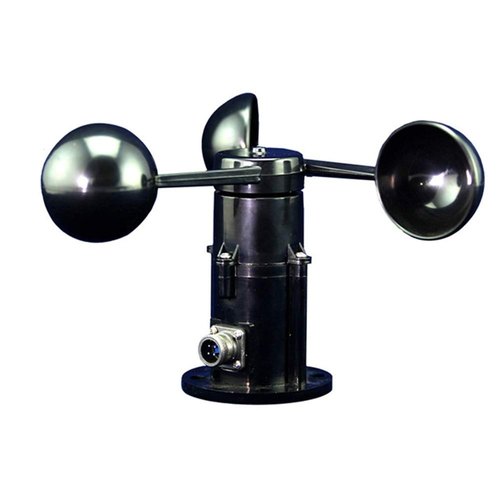 YUMUYMEY Anemometer Sensor High Precision Wind Cup Poly Carbon Three Cup Type Measuring Anemometer Transmitter Color : Black