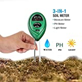 PH Soil Meter 3-IN-1 Soil Test Kit for Moisture Light & PH for Plant Lawn Farm IndoorOutdoors to Use Easy Read Indicator (No Battery Needed)