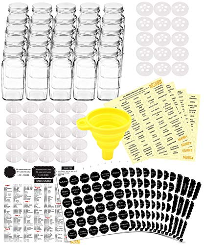 25 Glass Spice Jars Complete Set: 667 Chalkboard & Clear Printed Spice & Pantry Labels - 6 fl Oz Empty Square Bottles w/Pour/Sift & Coarse Shakers & Airtight Cap - ()
