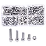Hilitchi 180pcs M4 Stainless Steel Hex Socket Head Cap Screws Nuts Assortment Kit with Box (M4 Steel Sockets)