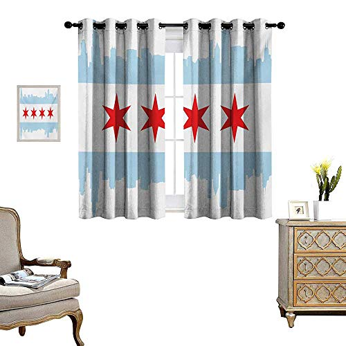 Chicago Skyline Waterproof Window Curtain City of Chicago Flag with High Rise Buildings Scenery National Blackout Draperies for Bedroom W55 x L45 Red White Baby Blue