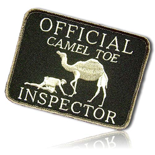 Official Camel Toe Inspector Desert Soldier Inspecting Animal Funny Sarcastic Sarcasm Adult Humor Sexual Woman Lady Hook & Loop Fastener Patch [ 4