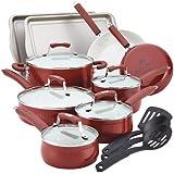 Paula Deen Savannah Collection Aluminum Nonstick 17-Piece Cookware Set, Red