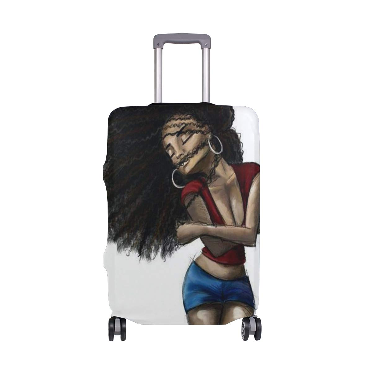 Travel Luggage Cover DIY Prints Protector Suitcase Baggage Fit 18-32 inch - Love Black Hair Art
