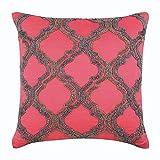"Designer Coral Pillow Shams, Beaded Lattice Trellis Pillow Sham, 24""x24"" Pillow Shams, Square Cotton Linen Shams, Art Deco Pillow Shams - Highlight Of The Day"