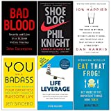 img - for Bad Blood [Hardcover], Shoe Dog, 10% Happier, You Are a Badass, Life Leverage, Eat That Frog 6 Books Collection Set book / textbook / text book