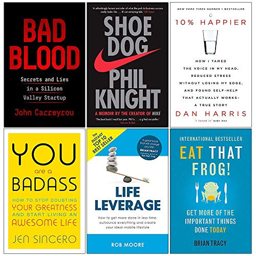 Book cover from Bad Blood [Hardcover], Shoe Dog, 10% Happier, You Are a Badass, Life Leverage, Eat That Frog 6 Books Collection Set by John Carreyrou
