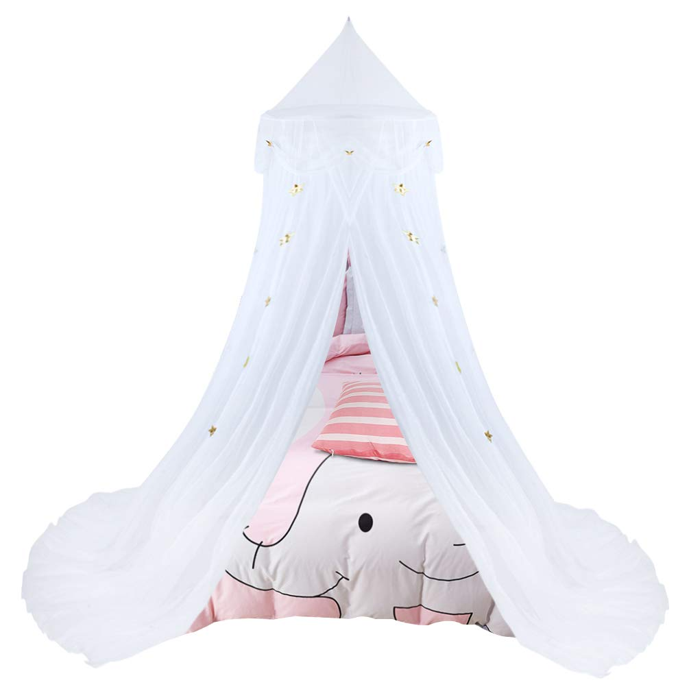 Uarter Boho Princess Mosquito Net, Bed Canopy Girls/Boys Mosquito Net Bed Conical Curtains Kids Play Tent with Stars or Luminous Butterflies for Kids, Installation-Free, Blue/White (White-1) by Uarter (Image #1)