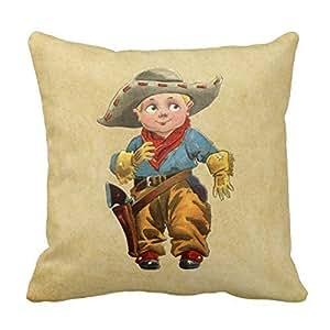 Cotton 20 X 20 Twin Sides Cute Little Vintage Cowboy Throw Pillowcases