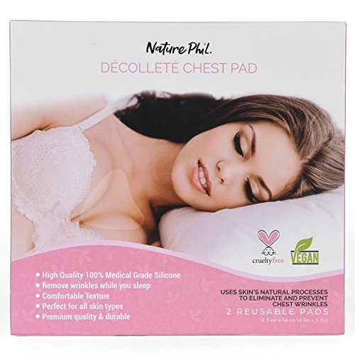 (2 Pads) Nature Phil - Premium Anti Wrinkle Chest Pads for Decollete, Reusable/Washable Medical Grade Anti-Wrinkle Silicone to Eliminate and Prevent Chest Wrinkles While You Sleep, Natural Prevention