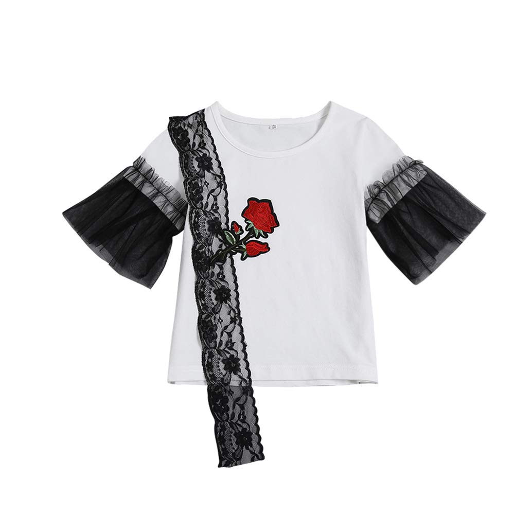 MiyaSudy Baby Girls Summer Cotton Embroidery Rose Print Lace Design T-Shirt Tops Blouse