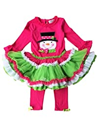 Girls Christmas Snowman Outfits Cake Top Dress+Pant Sets