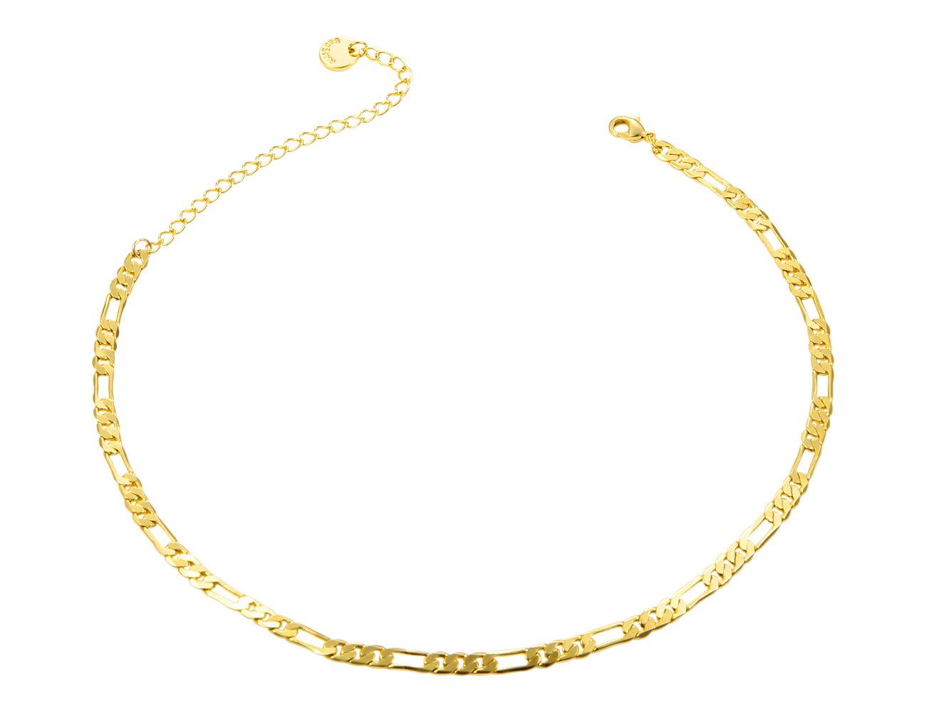 Figaro Chain 4MM, 24K Gold Plated with Inlaid Bronze, Premium Fashion Jewelry, Necklace Made Thin For Charms