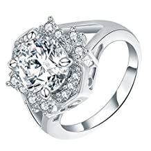 Onefeart White Gold Plated Ring for Girl Women Wedding Band White Cubic Zirconia 1.4x1.5CM US Size 6-8