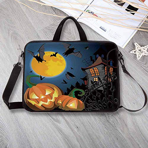 Halloween Decorations Portable Neoprene Laptop Bag,Gothic Halloween Haunted House Party Theme Decor Trick or Treat for Kids Laptop Bag for Travel Office School,15.4