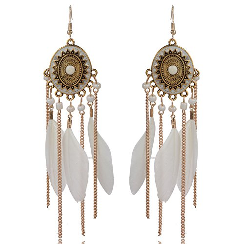 Dangle Drop Earrings Link Long Tassel Feather Bohemia Hook Turquoise Earrings for Women girls gift (White) ()