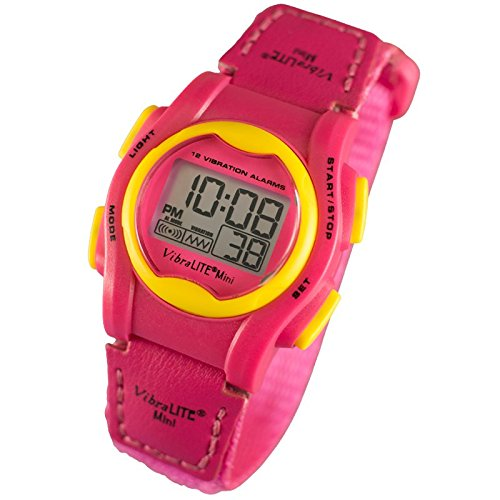 VibraLITE Mini Vibration Watch - Hot Pink with Yellow Bezel-Buttons by VibraLITE