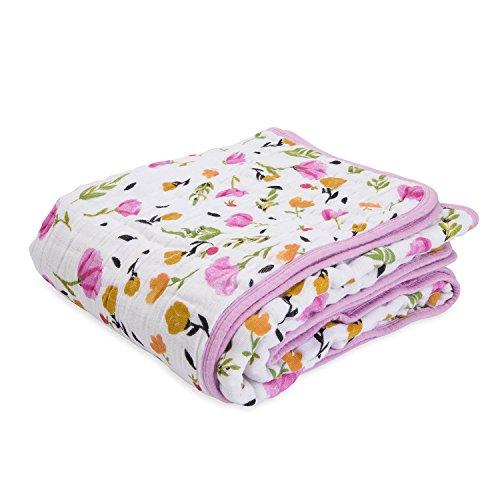 Little Unicorn Cotton Muslin Blanket Quilt - Berry & Bloom, Purple, Pink, Yellow ()