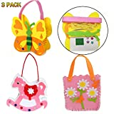 Easy Sewing School Crafts Kit for Girls and kids, Birthday Party DIY Crafts Favors,Sewing Project for 7 Years Old Girl Gifts Small Novelty Gifts Craft Supplies Unicorn handbag Butterfly Handbag flower