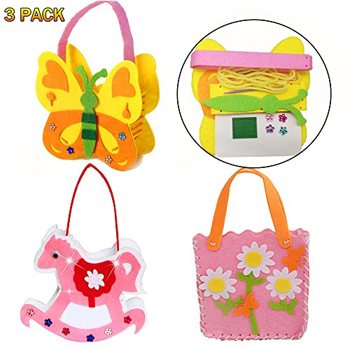 Easy Sewing School Crafts Kit for Girls and kids, Birthday Party DIY Crafts Favors,Sewing Project for 7 Years Old Girl Gifts Small Novelty Gifts Craft Supplies Unicorn handbag Butterfly Handbag flower by ETASTAY