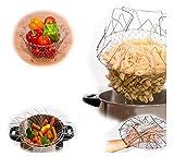 1Pc Foldable Steam Rinse Strain Fry Basket Magic Basket Mesh Basket Strainer Net Kitchen Cooking Tool