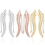 Crawler Earrings for Women: Leaf Ear Climber Cuff Earring Feather Studs (3 Pack: Rose Gold, Gold and Silver)