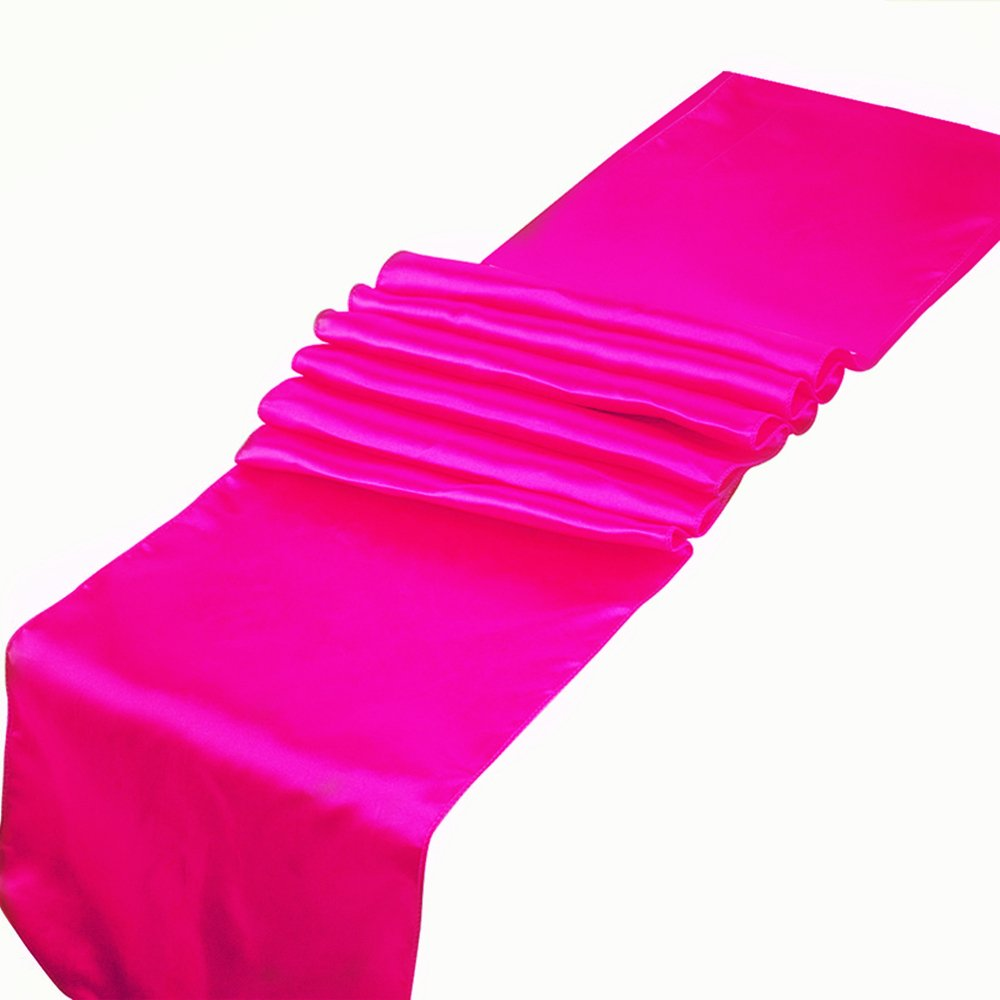 RayLineDo Pack of 10 12'' X 108'' Satin Table Runners for Wedding Party Banquet Table Party Bridal Decoration in Rose