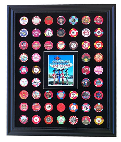 Black Casino Chip Display Frame with Showgirls at Las Vegas Sign Photo for 54 Poker Chips (not included) (Girl Poker Casino)