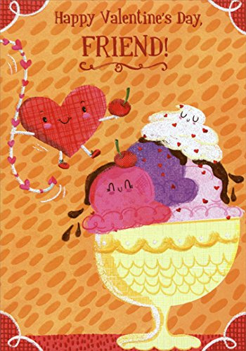 Ice Cream Sundae Friend Designer Greetings Juvenile Valentines Day Card