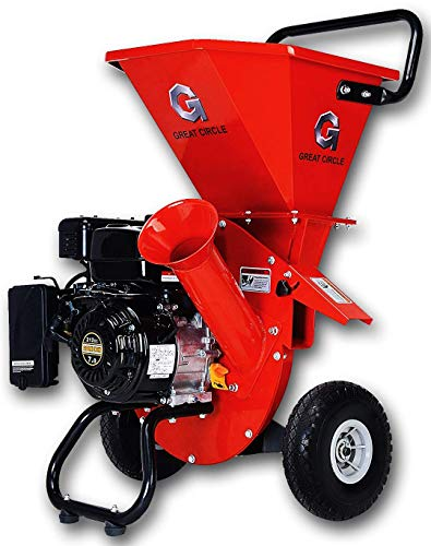 "GreatCircleUSA 7HP Heavy Duty 212cc Gas Powered 3:1 capable Multi-Function Wood Chipper Shredder 3"" max Wood Diameter Capacity, 3 Years Warranty, CARB Certified, Ship to California(IMPROVED PACKAGING)"