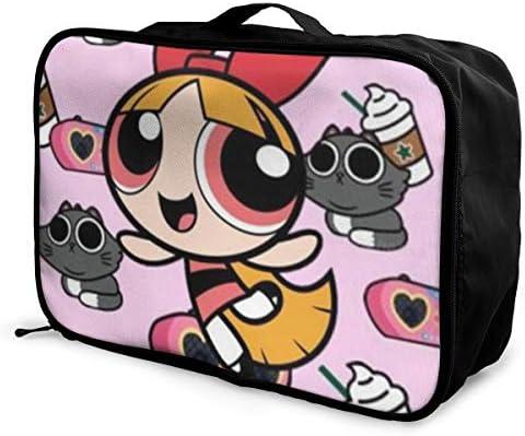 ボストンバッグ パワパフガール キャリーオンバッグ トラベルバッグ 大容量 厚手 丈夫 荷物 折りたたみ スーツケース固定可 旅行 出張 男女兼用 かわいい おしゃれ