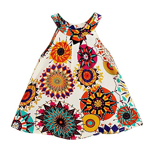 Hipea Baby Girls Clothes Sleeveless Bohemian Flower Printed Princess A-line Dress(size100/2-3T)
