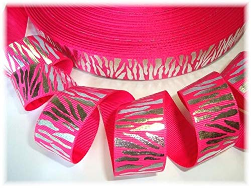 (Ribbon Art Craft Perfect Solution for Any Project Decoration 1 Yard 7/8 Shocking Pink Silver Glitz Zebra Grosgrain Ribbon 4 Cheer HAIRBOW Bow)