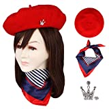 Wool Beret Hat Solid Color French Beret With Skily Scarf and Brooch (Red)