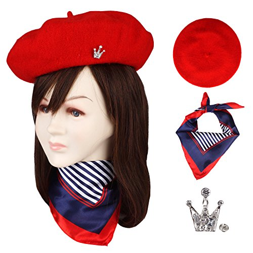 Wool Beret Hat Solid Color French Beret With Skily Scarf and Brooch (Red) Wool Scarf Hat